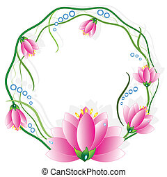 Round frame with lotuses, vector.