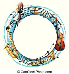 Round frame with musical instruments