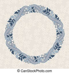 Round frame with paisley motifs. Floral eastern background.