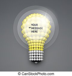 Round Frame with Place for Text. Lightbulb. Idea Concept. 3D Illustration for Marketing and Business Presentation. 3d Spheres Composition. Vector illustration for Science, Technology, Web Design.
