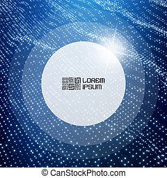 Round frame with place for text. Technology background. Graphic design. 3D grid surface with particles. Illustration for marketing, advertising and presentation.