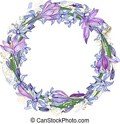Round frame with pretty lilac crocuses. Festive floral ...
