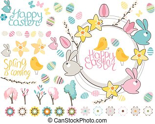 Round frame with pretty rabbits and text Happy Easter. Festive floral circle for your season design.