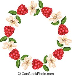 Round frame with raspberry and blossom. Vector