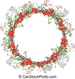 Round frame with red berries on white
