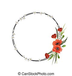 Round frame with red poppies isolated on white background.