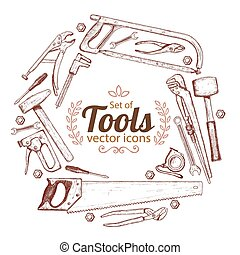 Round frame with repair tools icons