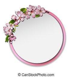 Round frame with sakura blossom.