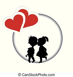 Round frame with silhouette of a boy and a girl kissing