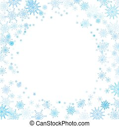 Round frame with small blue snowflakes