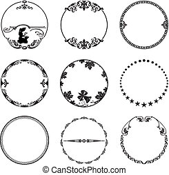 Round frame with stars and leaves o