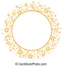 Round frame with stars. - A round frame with gold stars.