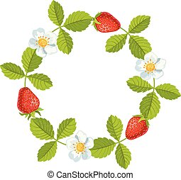 Round frame with strawberries and leaves. Vector
