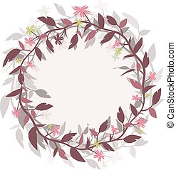 Round frame wreath. Vector image isolated from the background.