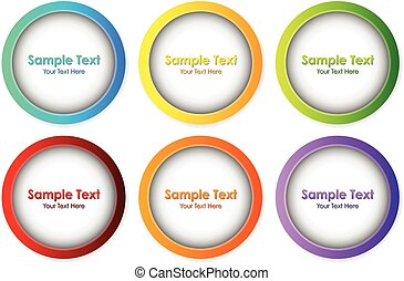 Round frames in six different colors illustration