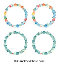 Round frames with shell - Vector illustration of round...
