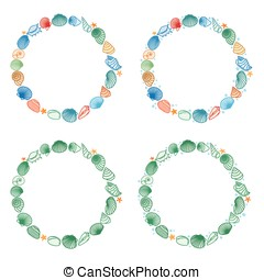 Round frames with shells - Vector illustration of round...