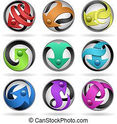round frizzled design elements