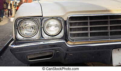 round front headlights of an antique car