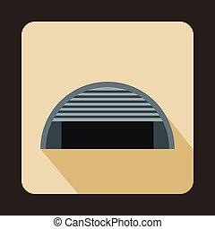 Round garage icon, flat style