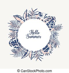 Round garland or frame made of palm tree leaves or foliage of tropical plants hand drawn with contour lines on white background and lettering Hello Summer inside. Monochrome vector illustration.