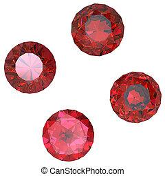 Round garnet isolated on white background. Gemstone