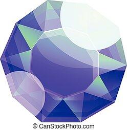 Round gemstone icon, cartoon style