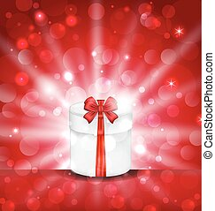 Round gift box on light red background with glow