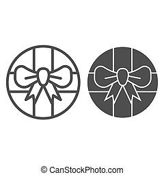 Round gift box with bow line and glyph icon. Round present with ribbon vector illustration isolated on white. Package outline style design, designed for web and app. Eps 10.