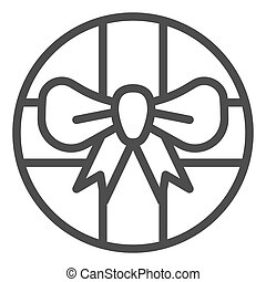Round gift box with bow line icon. Round present with ribbon vector illustration isolated on white. Package outline style design, designed for web and app. Eps 10.