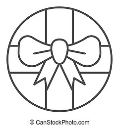 Round gift box with bow thin line icon. Round present with ribbon vector illustration isolated on white. Package outline style design, designed for web and app. Eps 10.