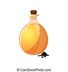 Round glass bottle with extract oil of plant seed