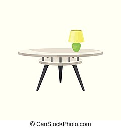 Round glass coffee table with lamp, living room furniture, interior design element vector Illustration on a white background