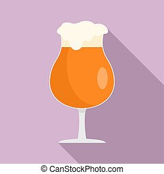 Round glass of beer icon, flat style