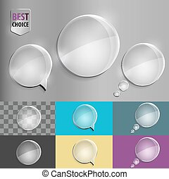 Round glass speech bubble icons with soft shadow on gradient background . Vector illustration EPS 10 for web.