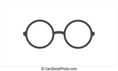 Round glasses icon animation, search animated icon in 4k resolution