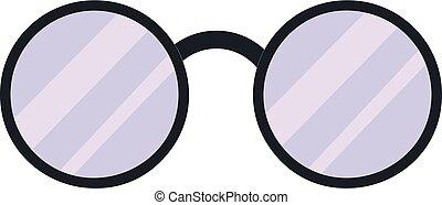 Round glasses icon, cartoon style