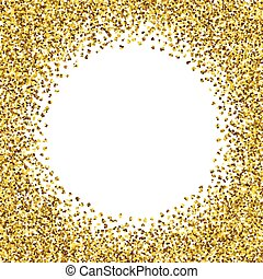 Round glitter gold frame.