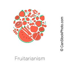 Round globe red fruit and berries. Card I love fruitarianism eco vegetarian healthy food. Vector illustration