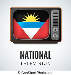 Round glossy icon of Antigua and Barbuda - Vintage TV and...