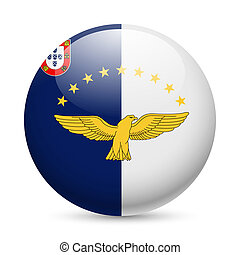 Round glossy icon of Azores - Flag of Azores as round glossy...