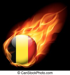 Round glossy icon of Belgium - Flag of Belgium as round...