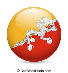 Round glossy icon of Bhutan - Flag of Bhutan as round glossy...