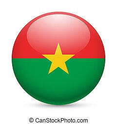 Round glossy icon of Burkina Faso