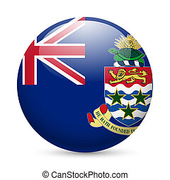 Round glossy icon of Cayman Islands - Flag of Cayman Islands...