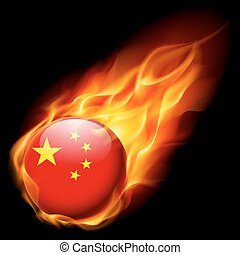 Round glossy icon of China