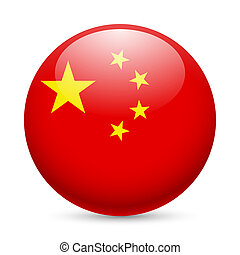 Round glossy icon of China - Flag of China as round glossy...