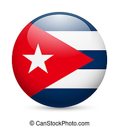 Flag of Cuba as round glossy icon. Button with Cuban flag