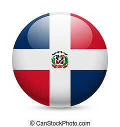 Round glossy icon of Dominican Republic - Flag of Dominican...