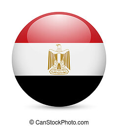 Flag of Egypt as round glossy icon. Button with Egyptian flag